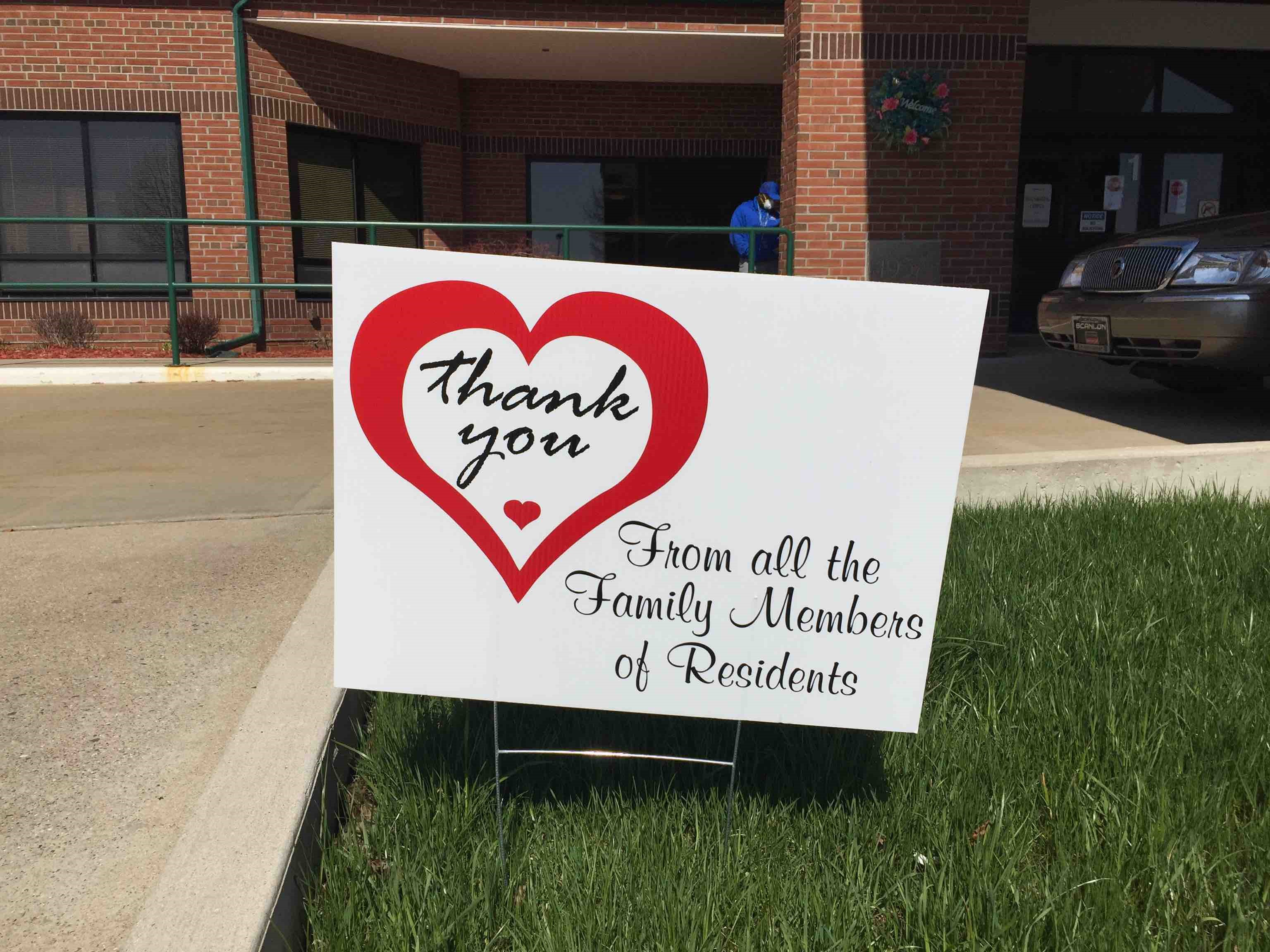 Yard sign saying thank you to the staff.
